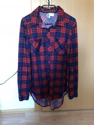Checked Blouse dark blue-dark red
