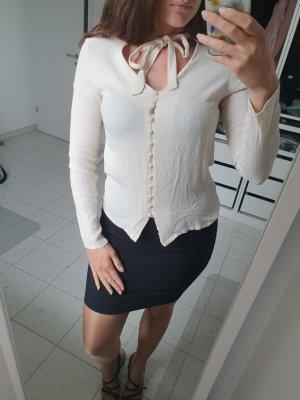 Bluse knöpfe stoff weiß creme vila M S 38 36