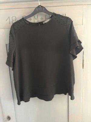 Bluse kurzarm schwarz Gr. 40 Shirt Chiffon