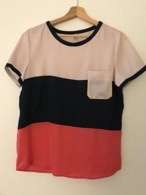 Bluse / Kurzarm Shirt, H.I.S., Off-white, Dunkelblau, Hellrot Gestreift, Gr. S (36) *neu o.E.*