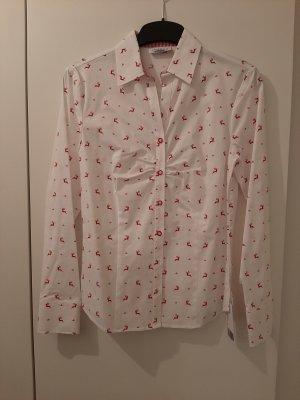 Landhaus Austrian Style Blusa tradizionale bianco-rosso Cotone