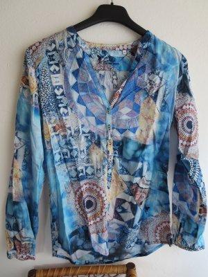 Bluse Langarm blau-bunt abstrakt Tunis Casual