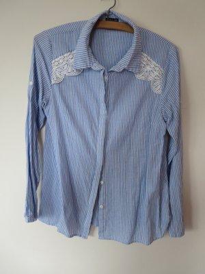 Bluse Langarm blau-weiß Casual