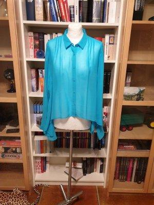 Bluse Langarm Gr. 40 blau Vero Moda Hemd Transparent Seiden