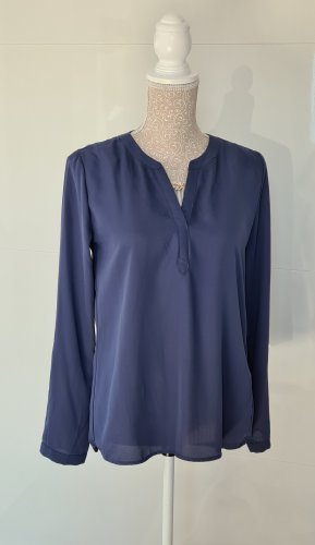 Bluse langarm - Größe 36 S - V-Ausschnitt - blau - Neuwertig