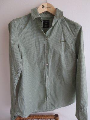 Marc O'Polo Blouse à manches longues vert foncé-blanc coton
