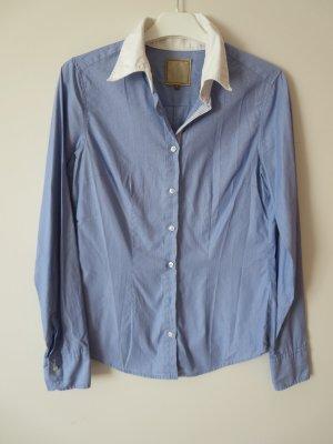 Bluse Langarm hellblau-weiß Stretch Streifen Größe S Business