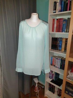 Bluse, LangArm, mit Paletten am Schulter, Gr. L, Vero Moda, mint transparent