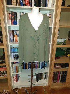 Bluse, LangArm, mit Volants am Kragen, Gr. L (40), khaki Vero Moda,