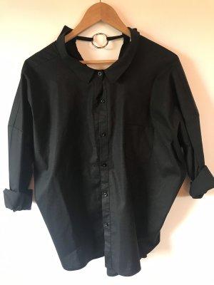 Made in Italy Blusa con collo alla coreana nero