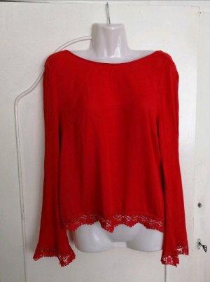 Bluse Langarm Shirt rot mit Spitze Rückenausschnitt H&M Coachella Gr. 36 elegant