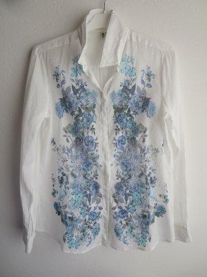 Bluse Langarm weiß blau Blüten