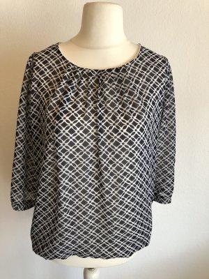 Bluse leicht 3/4 schwarz weiß gemustert Gr. 40