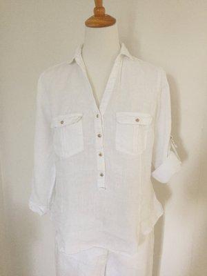 Zara Bluzka tunika biały Len