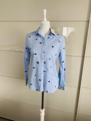 Bluse Lieblingsstück 34 blau Stickereien