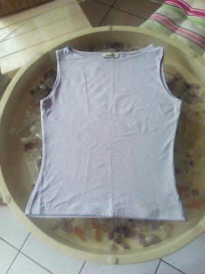 Bluse lila, ohne Ärmel, passend zu Seidenhose + Rock