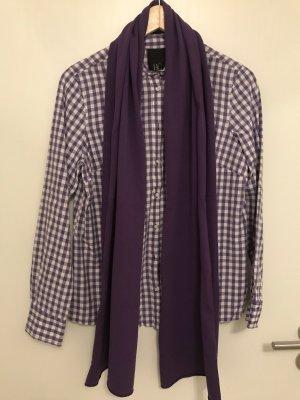 Bluse lila-weiß kariert inkl passendem Schal