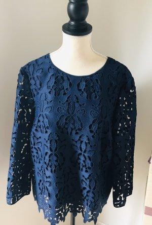 Marie Lund Blusa de encaje azul oscuro-azul