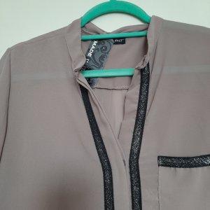 Made in Italy Blusa trasparente nero-marrone chiaro