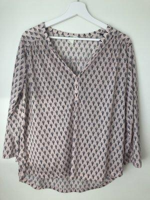 Bluse mit 3/4 Ärmeln und süßem Muster, Größe L