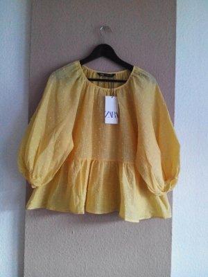 Bluse mit Balloonärmeln in gelb aus 64% Baumwolle, Grösse S oversize,neu