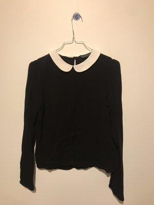 Zara Woman Slip-over Blouse black-white