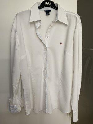 Bluse mit blau/weiß gestreiften Details