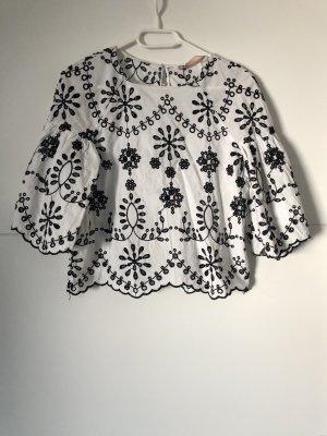 Zara Bluzka oversize biały-czarny