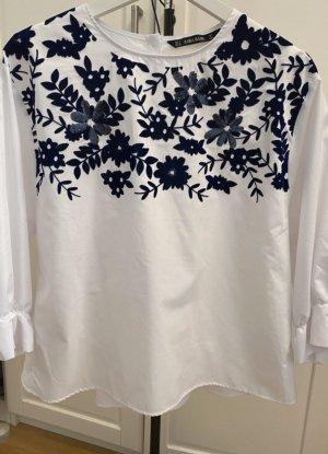 Zara Kimono Blouse white-blue