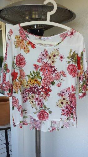 Bluse mit Blumenmuster und kleinen Volants Gr. M 38/40