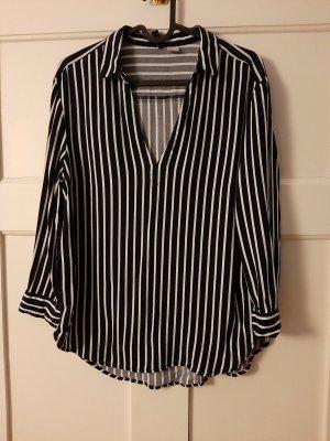 H&M Blusa de cuello alto azul oscuro-blanco