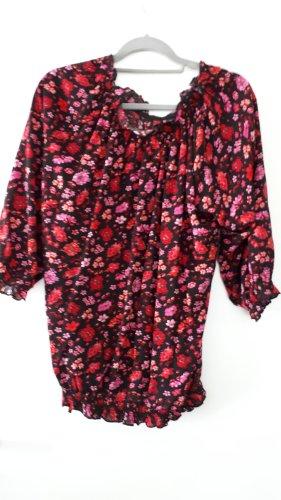 Bluse mit elastischem Saum,  hübsches florales Muster