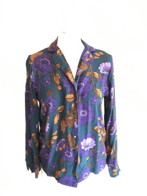 Bluse mit floralem, herbstlichen Muster Mango Petrol S
