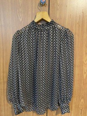 H&M Bluzka ze stójką czarny-szaro-brązowy