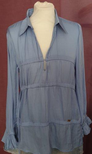 Tie-neck Blouse neon blue viscose