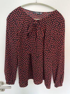 Hallhuber Blusa con lazo negro-rojo