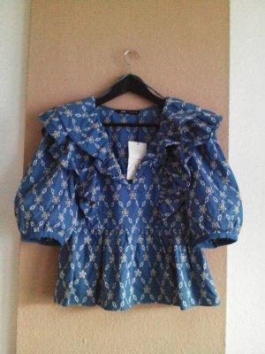 Bluse mit Lochstickerei in blau-weiss, Größe M, neu