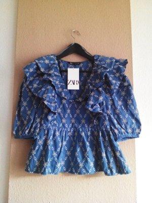 Bluse mit Lochstickerei in blau-weiss, Größe S, neu