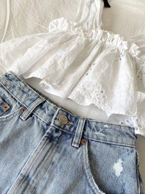 Bluse mit Lochstickerei von ZARA