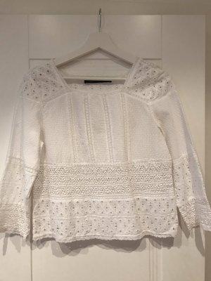 Bluse mit Lochstickerei von Zara Woman