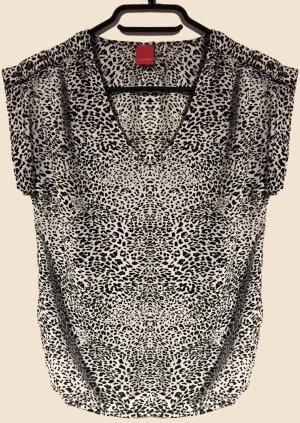 Bluse mit Muster, kurzärmlig, V-Schnitt