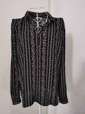 Bluse mit Muster schwarz