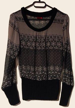 Bluse mit Muster und Strick, durchsichtig, langärmlig