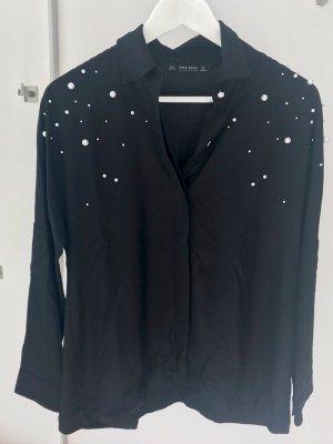Bluse mit Perlen Zara
