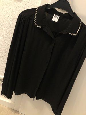 Bluse mit Perlenkragen und Armbündchen