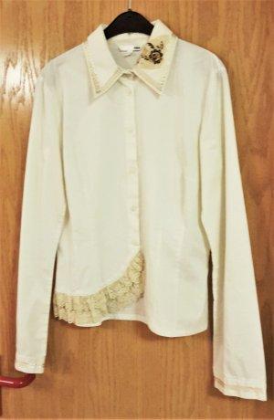 Bluse mit Perlenstickerei und Spitze Gr. 40