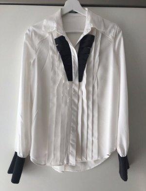 Bluse mit Plastron weiß schwarz 100% Seide