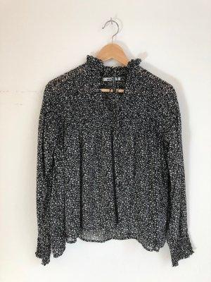 Gina Tricot Blusa de cuello alto negro-gris claro
