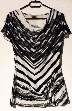 Bluse mit Print, kurzärmlig, Faltenausschnitt