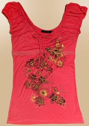 Bluse mit Print und Nieten, kurzärmlig, U-Ausschnitt, Gr. S/M